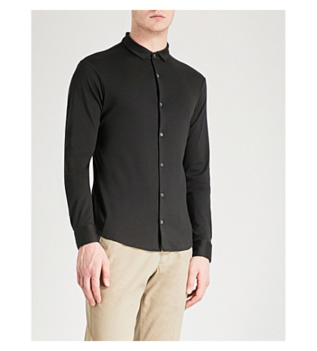 EMPORIO ARMANI Mercerised cotton-jersey shirt (Black