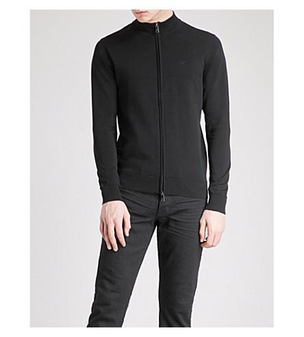 EMPORIO ARMANI Slim-fit cotton jumper (Black