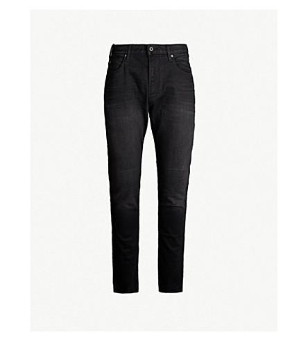 EMPORIO ARMANI Slim-fit straight stretch-denim jeans (Washed black