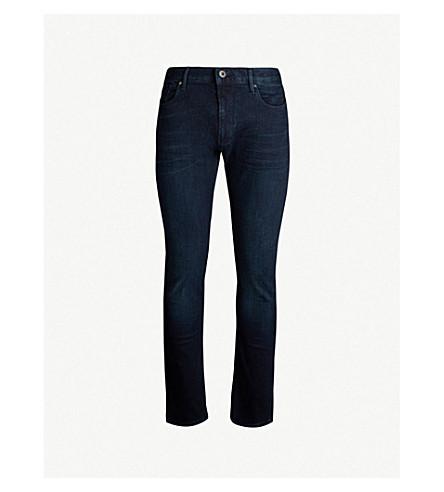EMPORIO ARMANI Slim-fit straight stretch-denim jeans (Washed blue 0942