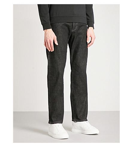 EMPORIO ARMANI J21 舒适常规版型直穿牛仔裤 (牛仔布 + 黑色