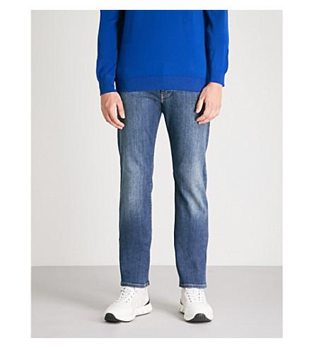 EMPORIO ARMANI Slim-fit straight stretch-denim jeans (Dk blue