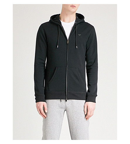 EMPORIO ARMANI Logo-print jersey hoody (Black
