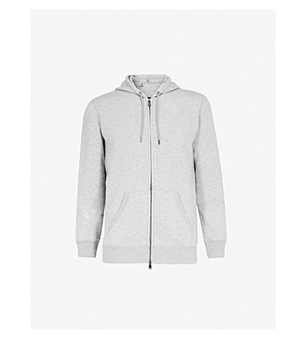EMPORIO ARMANI Logo-print jersey hoody (Grey