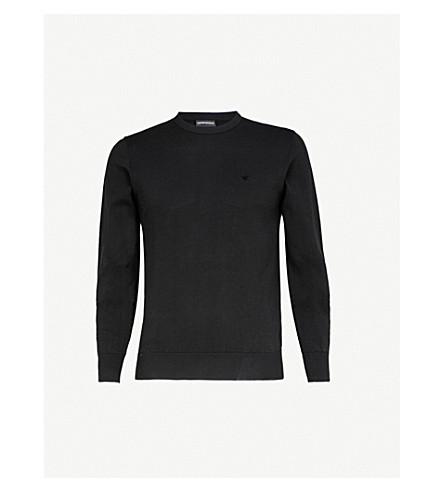 EMPORIO ARMANI Core crewneck cotton jumper (Black