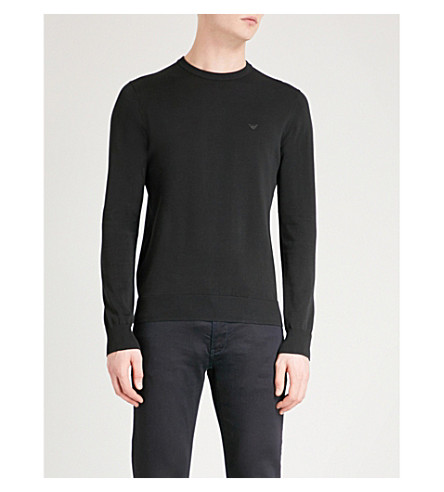 EMPORIO ARMANI Core crewneck cotton jumper (Black