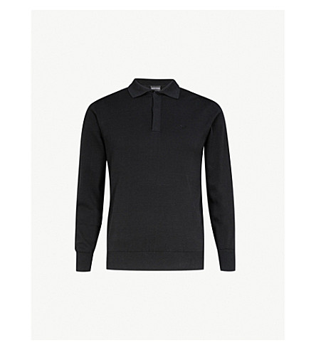EMPORIO ARMANI Slim-fit cotton polo shirt (Black