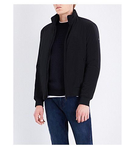 ARMANI JEANS Stand collar shell bomber jacket (Nero
