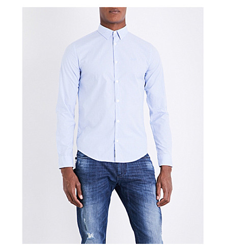 ARMANI JEANS Slim-fit cotton shirt (Blue