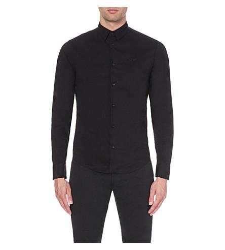 ARMANI JEANS Slim-fit stretch-cotton shirt (Blu