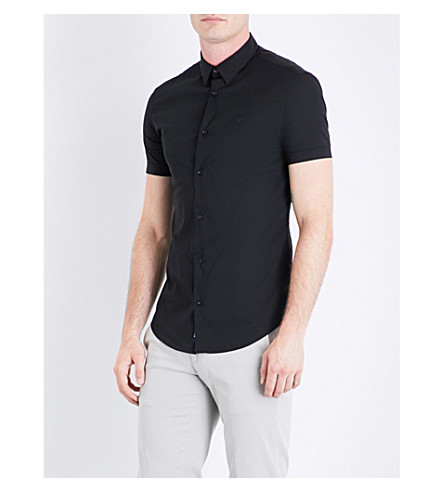 ARMANI JEANS Slim-fit stretch-cotton short-sleeved shirt (Black