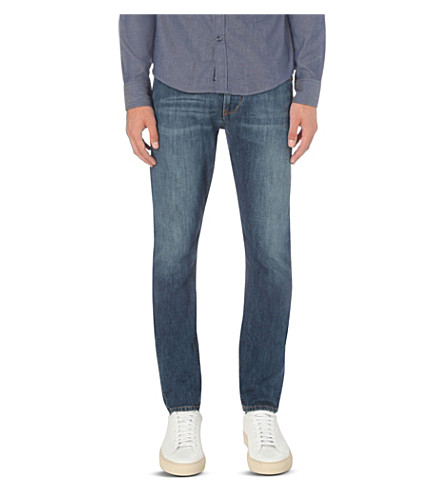 ARMANI JEANS Mid-wash slim-fit tapered jeans (Denim+indaco