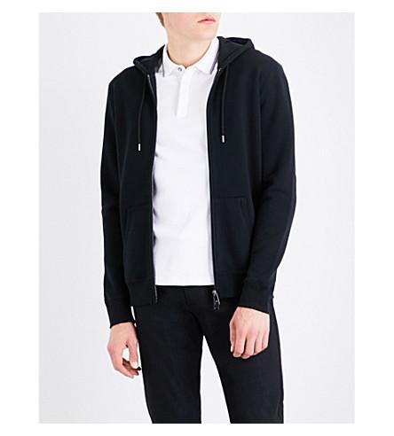 ARMANI JEANS Logo-print cotton-jersey hoody (Black
