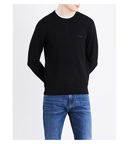 ARMANI JEANS Crewneck cotton-blend sweater (Black