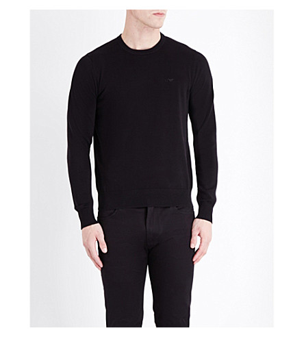 ARMANI JEANS Crewneck knitted jumper (Black