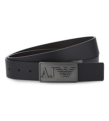 ARMANI JEANS Big Eagle buckle reversible leather belt (Black