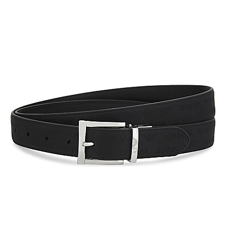 ARMANI JEANS Reversible leather belt (Black