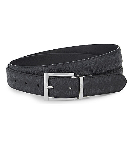ARMANI JEANS Grained leather reversible belt (Black