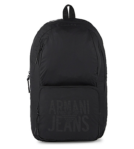 ARMANI JEANS Packaway nylon backpack (Black