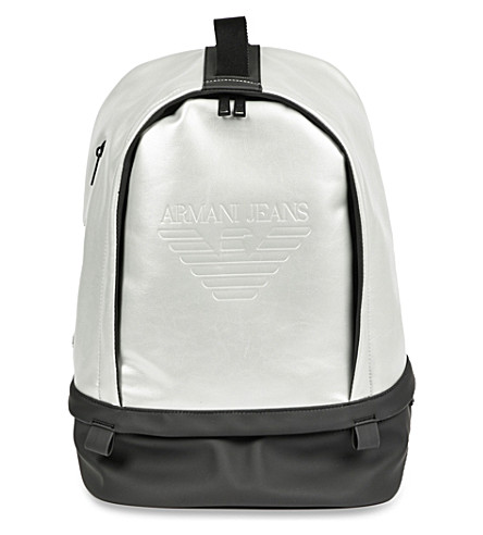 ARMANI JEANS Logo-embossed metallic backpack (Silver