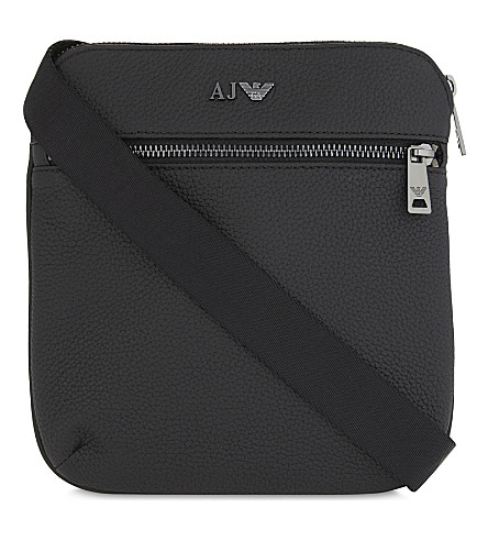 ARMANI JEANS Grained-leather messenger bag (Black