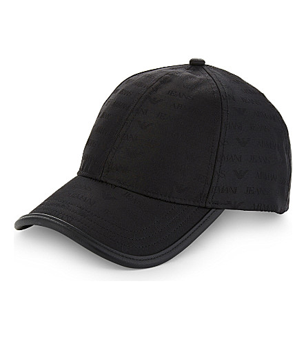 ARMANI JEANS Eagle logo nylon cap (Black