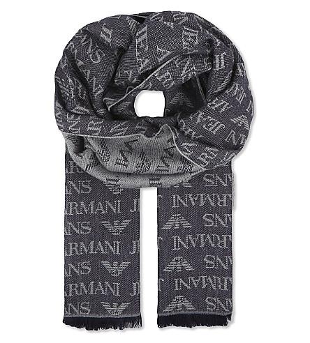 ARMANI JEANS Eagle logo scarf (Blue