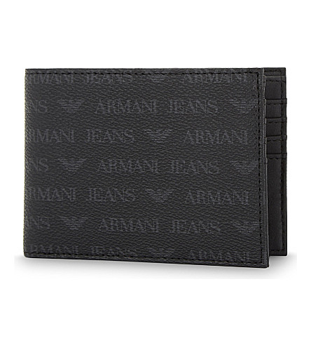 ARMANI JEANS Monogram textured leather billfold wallet (Black