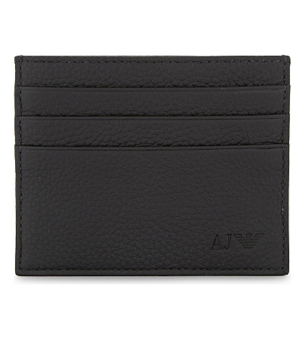 ARMANI JEANS Logo grained leather card holder (Black