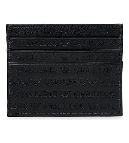 ARMANI JEANS Logo-detail leather card holder (Black