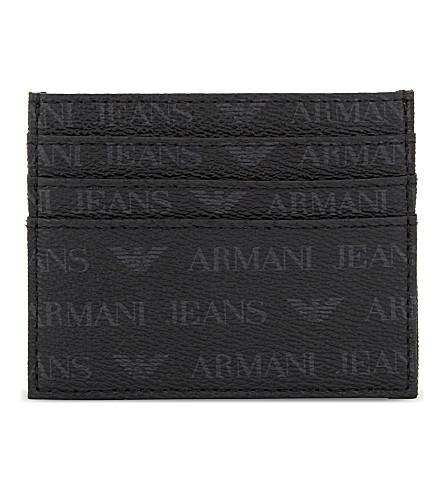 ARMANI JEANS Monogram textured leather card holder (Black