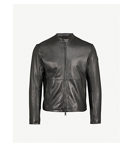 EMPORIO ARMANI Stand-collar leather jacket (Black
