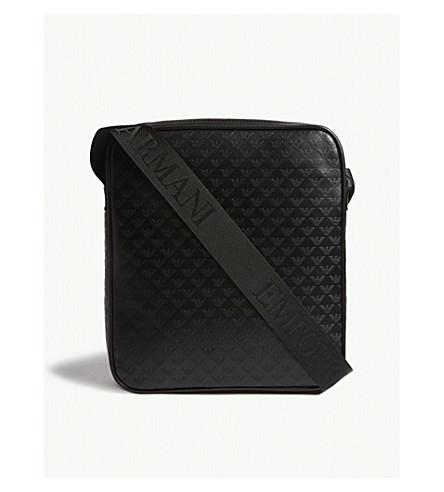 EMPORIO ARMANI Embossed eagle leather messenger bag (Black