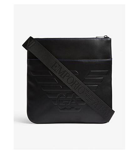 EMPORIO ARMANI Embossed quilted logo messenger bag (Black