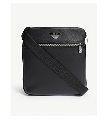 EMPORIO ARMANI Leather pouch bag (Black