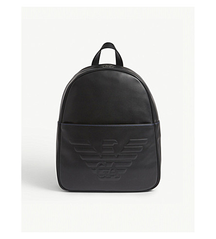 EMPORIO ARMANI Embossed eagle leather backpack (Black