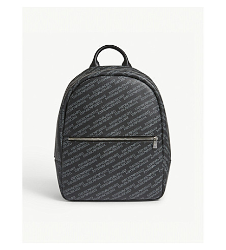 EMPORIO ARMANI Logo-print leather backpack (Black