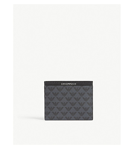 EMPORIO ARMANI Eagle-print leather card holder (Black