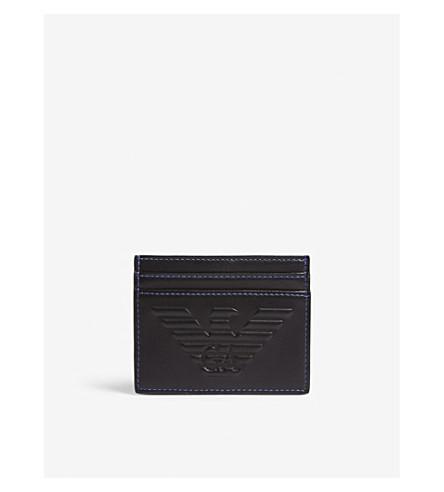 EMPORIO ARMANI 压花标志皮革卡夹 (黑色