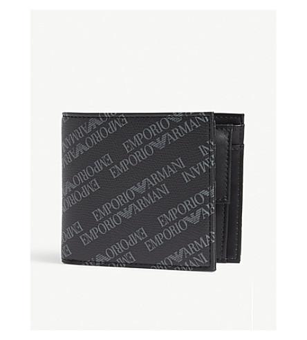 EMPORIO ARMANI Logo textured leather billfold wallet (Black