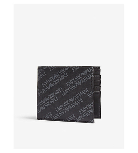 EMPORIO ARMANI Logo leather billfold wallet (Black