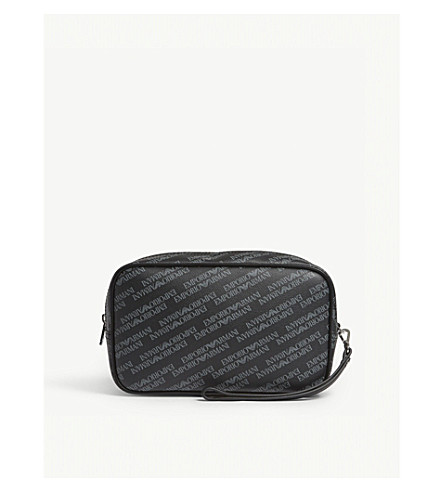 EMPORIO ARMANI Logo print leather wash bag (Black