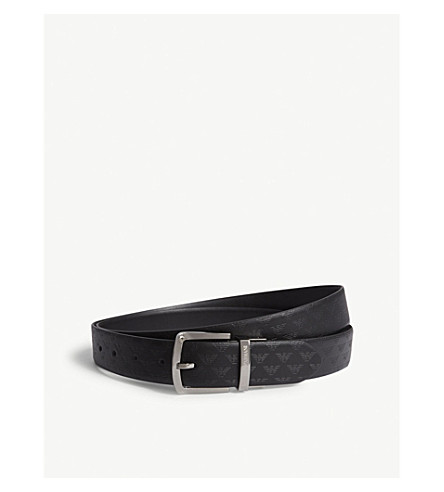 EMPORIO ARMANI Eagle logo leather belt (Black