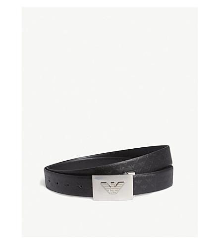 EMPORIO ARMANI Eagle logo reversible leather belt (Black
