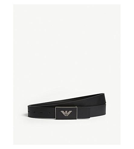 EMPORIO ARMANI Logo-embossed leather belt (Black