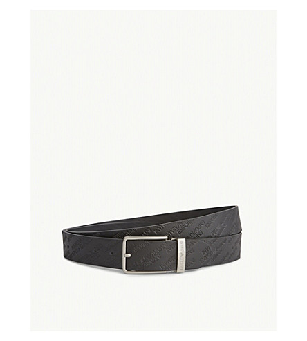 EMPORIO ARMANI Logo-embossed leather reversible belt (Black