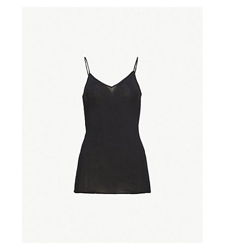 HANRO Seamless cotton camisole (Black