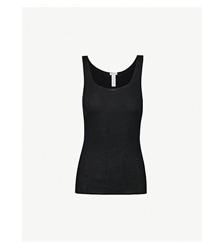HANRO Seamless cotton vest top (Black