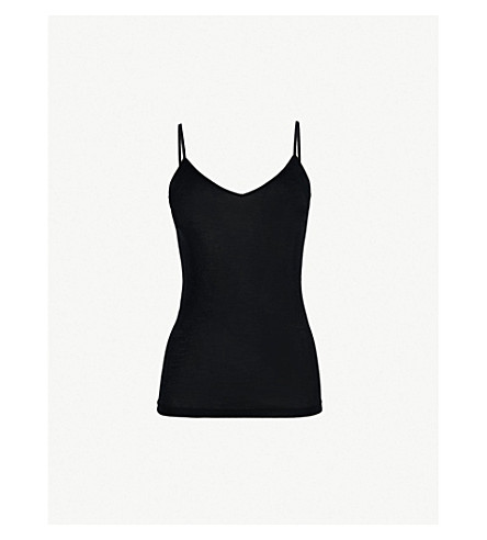 HANRO Pure silk vest top (Black