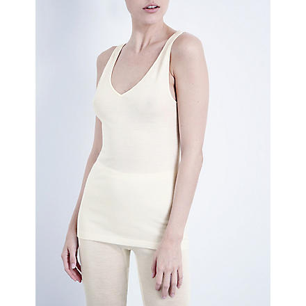 HANRO Wool and silk-blend top (Cyg:+cygne
